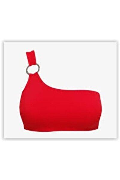 Kadın Kırmızı Tek Omuzlu Tokalı Bikini Üstü