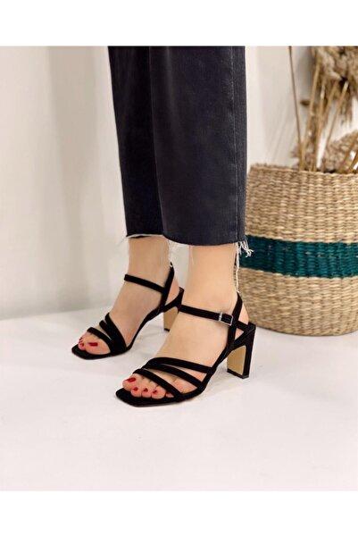 STRASWANS Kadın Siyah Topuklu Süet Sandalet