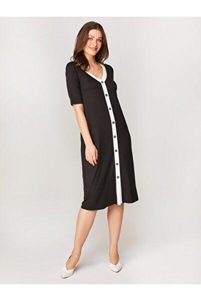 Faik Sönmez Kadın Siyah Kontrast Biyeli Örme Elbise 60257