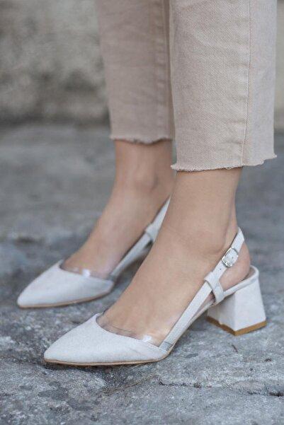 STRASWANS Kadın Bej Roy Süet Topuklu Ayakkabı