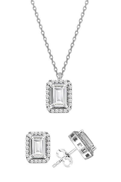 Trend Silver Gümüş Baget Taşlı Rodyumlu Pırlanta Modeli Kolye Ve Küpe Ikili Set