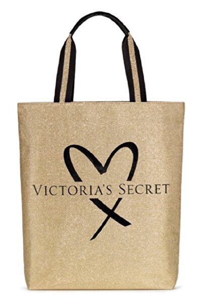 Victoria's Secret Vs Official Fashion Show Glamour Glitter Gold Tote With Heart Logo