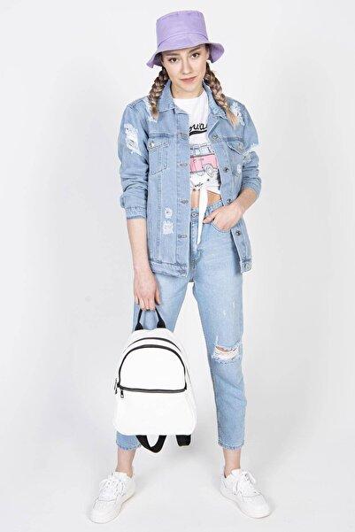 Addax Kadın Açık Kot Rengi Yırtık Detaylı Kot Ceket C5013 - C2 ADX-0000022425