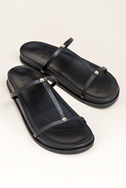 Elle Shoes Hakiki Deri Siyah Kadın Terlik CAMEO