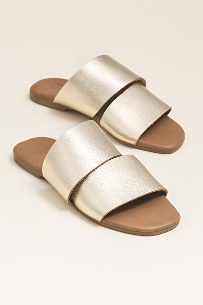 Elle Shoes CAMA Hakiki Deri Altın Rengi Kadın Terlik