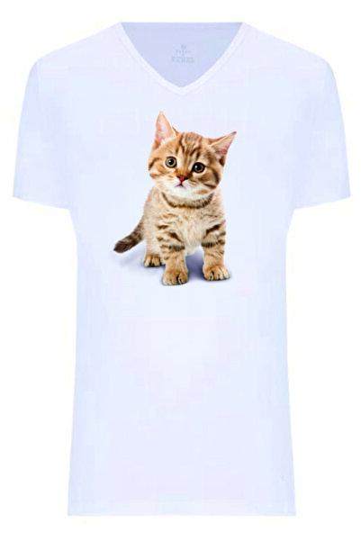 Dolce Unisex Beyaz Kedicik Baskılı Tişört
