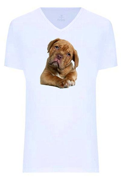 Dolce Unisex Beyaz V Yaka T-Shirt