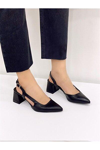STRASWANS Kadın Siyah Ava Deri Topuklu Ayakkabı