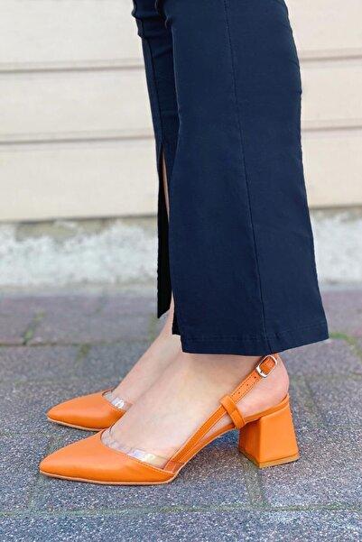 STRASWANS Kadın Turuncu  Deri Topuklu Ayakkabı