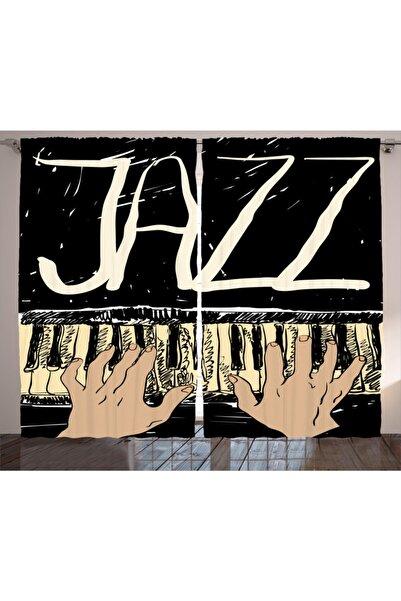 Orange Venue Müzik Piyano Ve Caz Desenli Rengirenk Perde