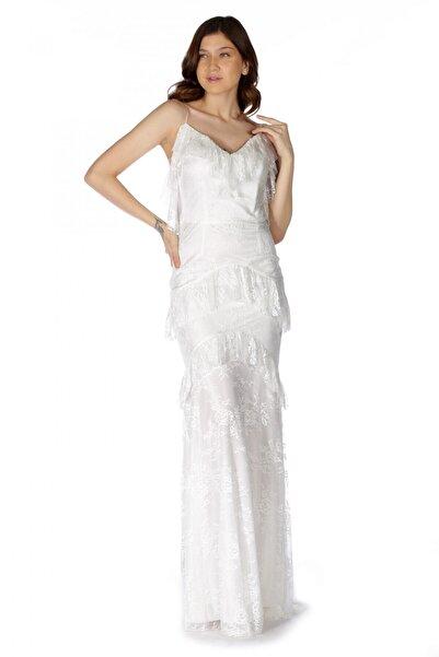 Pierre Cardin Kadın Ekru Dantelli Eteği Fırfırlı Abiye Elbise PC55325