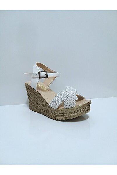 Osse Kadın Beyaz Dolgu Ökçe Sandalet