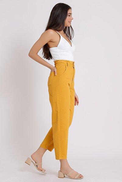 Kadın Hardal Yüksek Bel Balon  Pantolon