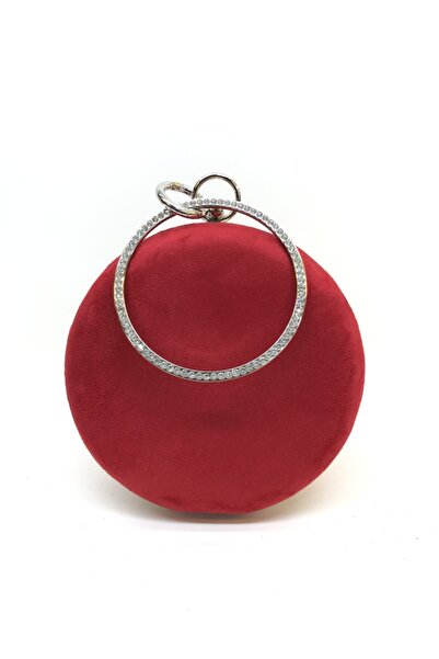 womenacs Kadın Kırmızı Renk Süet Taşlı Işlemeli Abiye Portföy Clutch Çanta