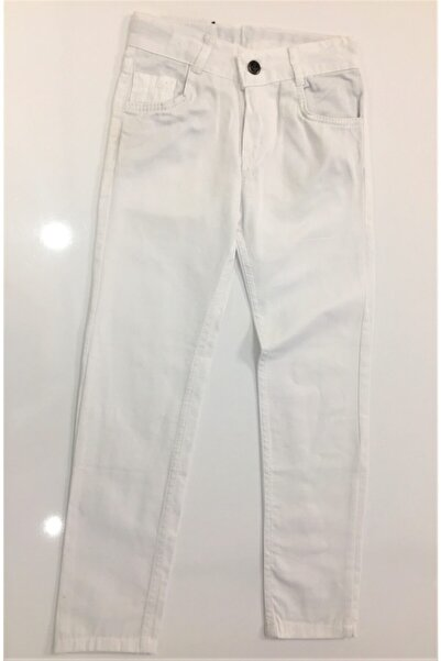 Elif Bebe Çocuk Beyaz Keten Pantolon