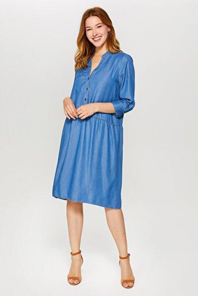 Faik Sönmez Kadın İndigo Comfort Jean Elbise 60450 U60450