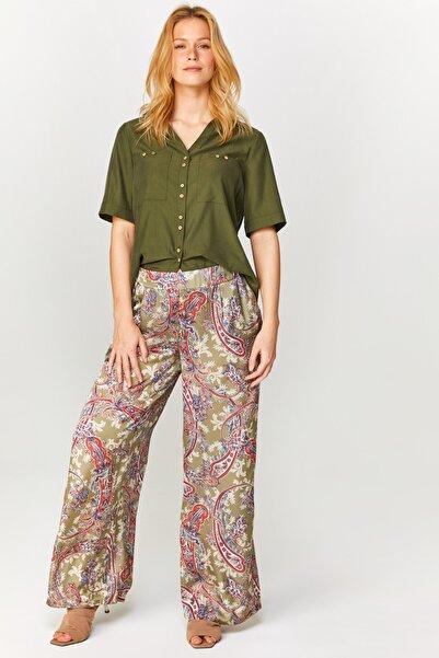 Faik Sönmez Kadın Açık Haki Wide Leg Fit Şal Desen Kupro Saten Pantolon 60559 U60559