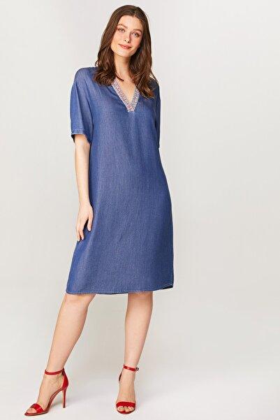 Faik Sönmez Kadın Mavi Şerit Detaylı Jean Elbise 60455 U60455