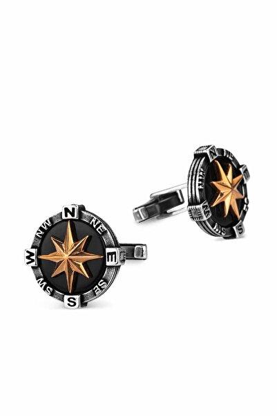 Anı Yüzük 925 Ayar Gümüş Pusula Kol Düğmesi