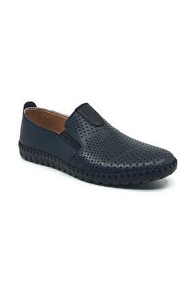 Erkek Lacivert Bağcıksız Yazlık Rahat Casual Ayakkabı