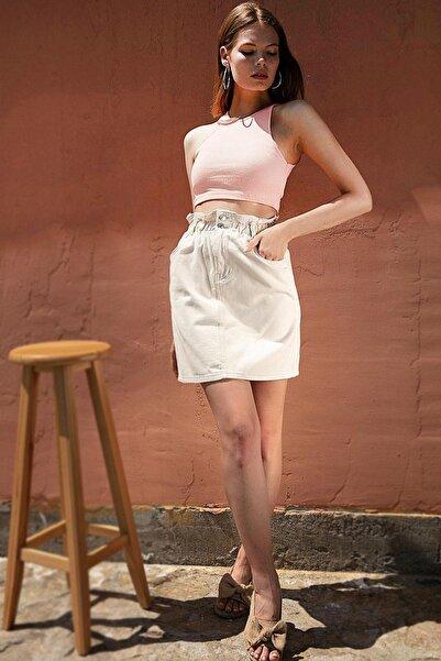 Y-London Kadın Krem Beli Lastikli Mini Boy Kot Etek Y20S125-3021