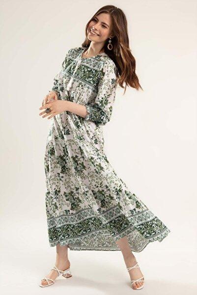 Y-London Kadın Yeşil Çiçek Desenli Bileği Lastikli Uzun Elbise Elbise Y20S110-1947