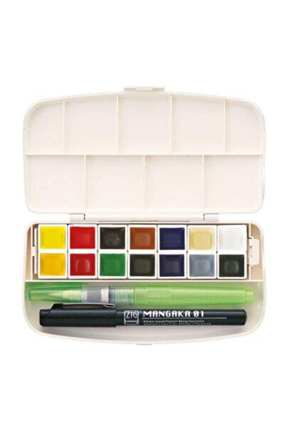 Zig Gansai Tambi Portable Tablet Sulu Boya Seti 14 Renk (su Hazneli Fırça + Mangaka Kalem Hediyeli)