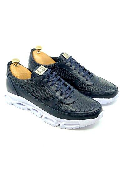TETRİ Erkek Lacivert Hakiki Deri Yüksek Taban Sneakers