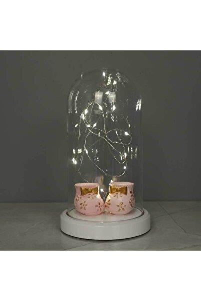 BY-LAMP Işıklı Cam Fanus Bebek Patiği Figürlü Lamba Pembe