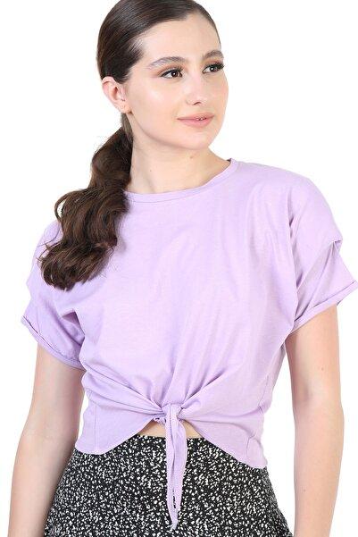 YOYOSO Kadın Lila Önü Bağlamalı Vatkalı Bluz