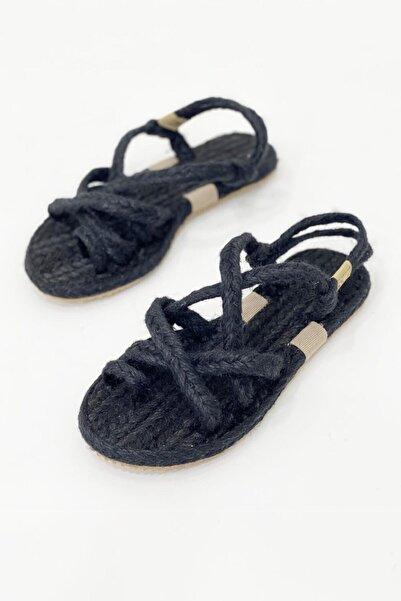 STRASWANS Kadın Siyah Roxy Parmak Arası Hasır Sandalet Siyah