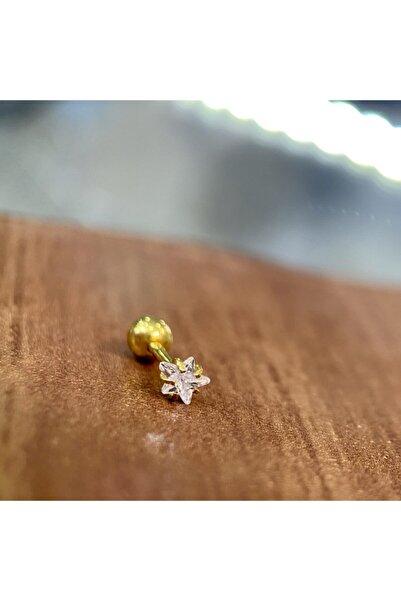 Yıldızlı Sarı Renk Toplu Cerrahi Çelik Piercing