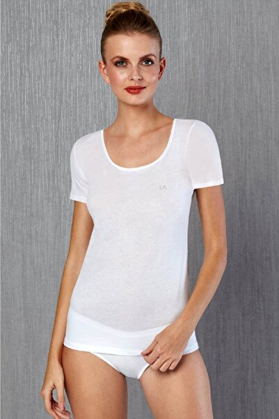 Doreanse Kadın Beyaz Büyük Beden Kısa Kol Geniş Yaka T-shirt 9397p