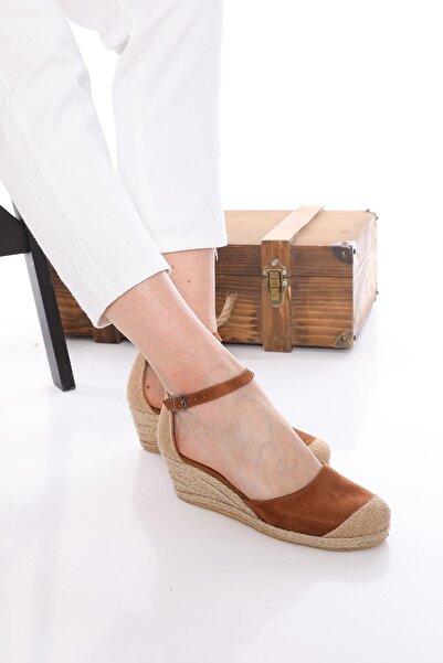 Nizar Deniz Bury Taba Süet Espardil 5cm Kalın Topuklu Hazıralt Bayan Günlük Ayakkabı