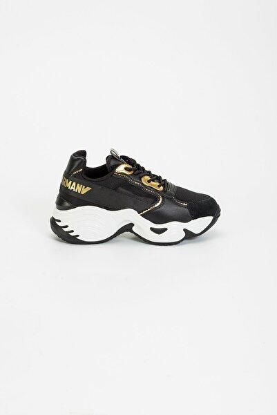 Emporio Armani Kadın Siyah Yüksek Taban Sneaker