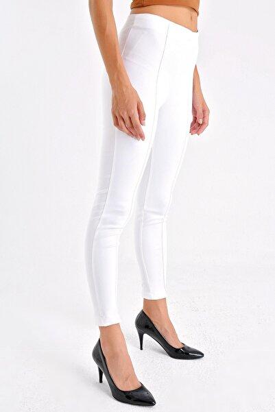 Kadın Beyaz Ön Arka Dikişli Dar Paça Tayt Pantolon - Beyaz 40004