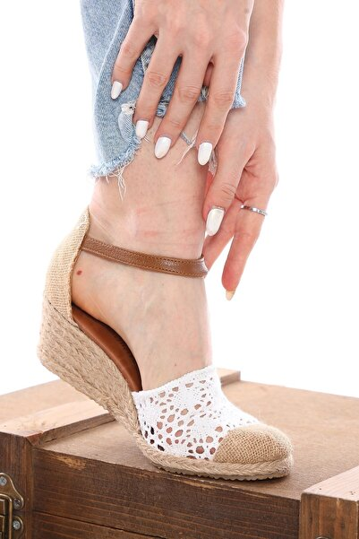 Nizar Deniz Bury Beyaz Örgülü Espardil 5cm Kalın Topuklu Hazıralt Bayan Günlük Ayakkabı