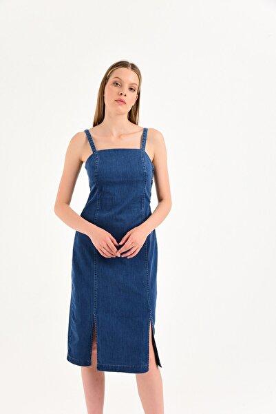 Erıca Dark Blue Denim Elbise