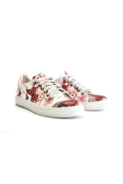 Goby Kadın Beyaz Kelebek Desenli Baskılı Spor Ayakkabı
