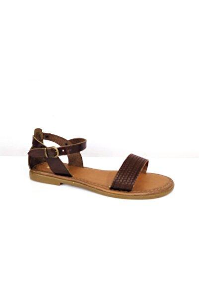 PUNTO Kadın Kahverengi Bilekten Bağlamalı Düz Taban Hakiki Deri Sandalet 432015z