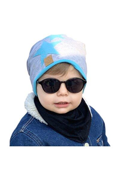 Babygiz Erkek Çocuk Gri Mavi Bere
