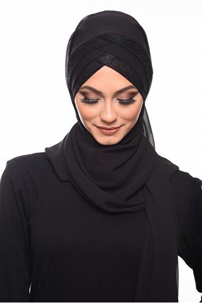 Hürrem Şal Hazır Şal & Eşarp Titi Simli Siyaha Siyah