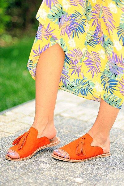Pembe Potin Kadın Turuncu Nubuk Sandalet