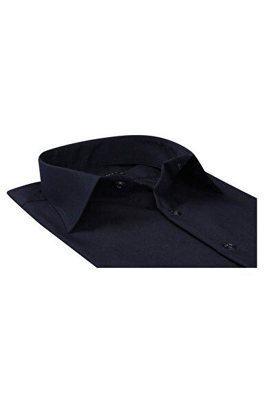 Düz Renk Dar Kesim Yeni Erkek Gömlek-lacivert