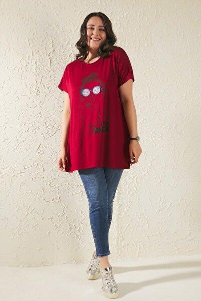 Siyezen Bordo Büyük Beden Salaş Kız Figürlü Tshirt