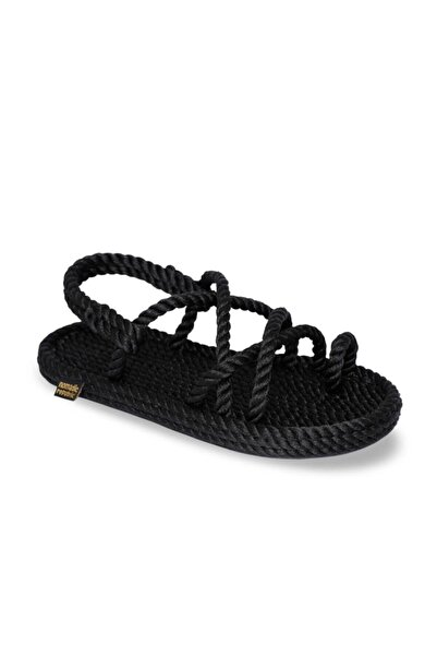 Nomadic Republic Ibiza Kauçuk Tabanlı Çocuk Halat & İp Sandalet - Siyah