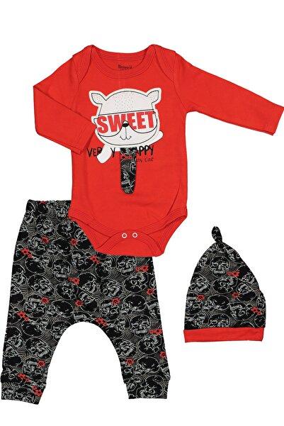 Miniworld Kırmızı Siyah Renk Kabartmalı Kedili Badili Zıbınlı Şapkalı 3-6 6-9 Aylık Pamuklu Erkek Bebek Takımı