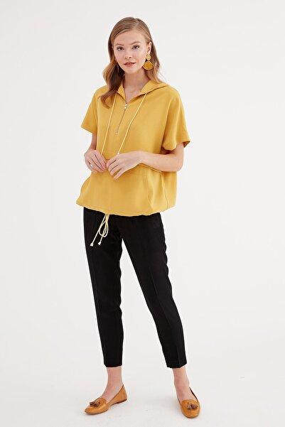 Journey Kadın Sarı Kapüşonlu Ön Yarım Fermuarlı Etek Altı Bağcık Büzgülü Bluz