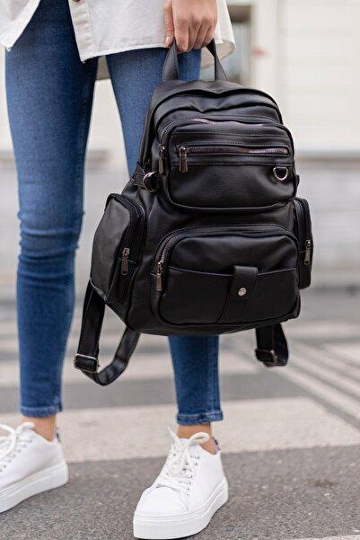 Shule Bags Yıkama Deri Kadın Sırt Çantası Maura Siyah