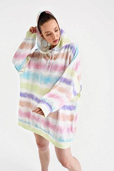 Bigdart Kadın Grafik Desenli Oversize Sweat Elbise